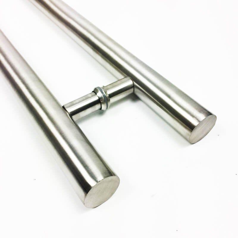 Puxador Portas Duplo Aço Inox Escovado Pleno 1,8 m para portas: pivotantes/madeira/vidro temperado/porta alumínio e portões  - Loja do Puxador