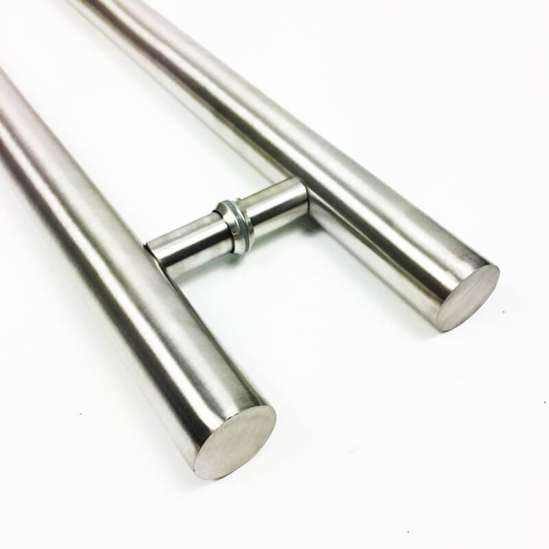 Puxador Portas Duplo Aço Inox Escovado Pleno 3 m para portas: pivotantes/madeira/vidro temperado/porta alumínio e portões  - Loja do Puxador