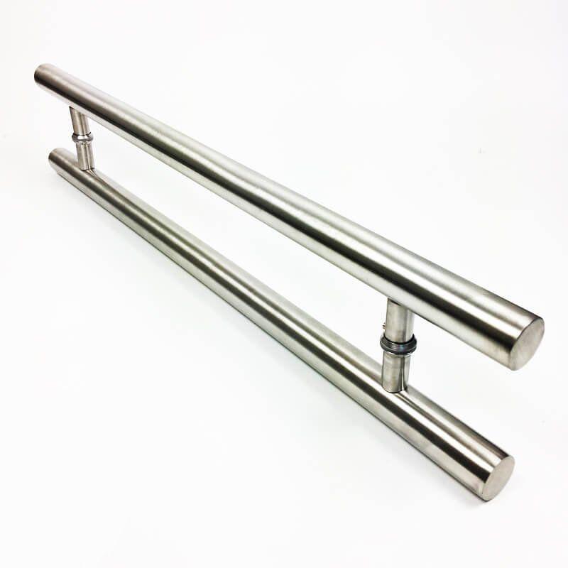 Puxador Portas Duplo Aço Inox Escovado Pleno 50 cm para portas: pivotantes/madeira/vidro temperado/porta alumínio e portões  - Loja do Puxador
