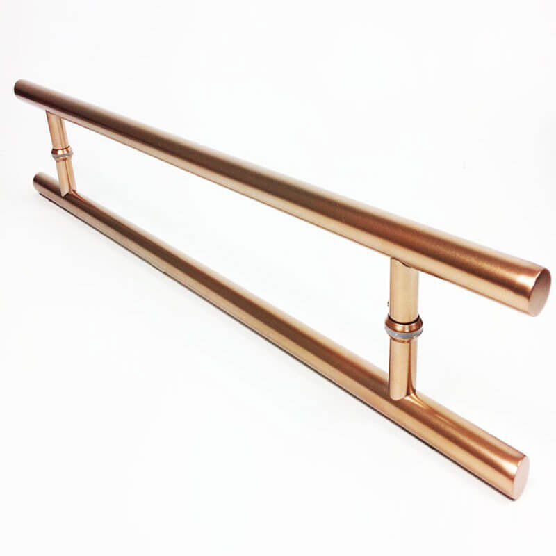 Puxador Portas Duplo Aço Inox Cobre Acetinado Soft 1,2 m - para portas: pivotantes/madeira/vidro temperado/porta alumínio e portões   - Loja do Puxador