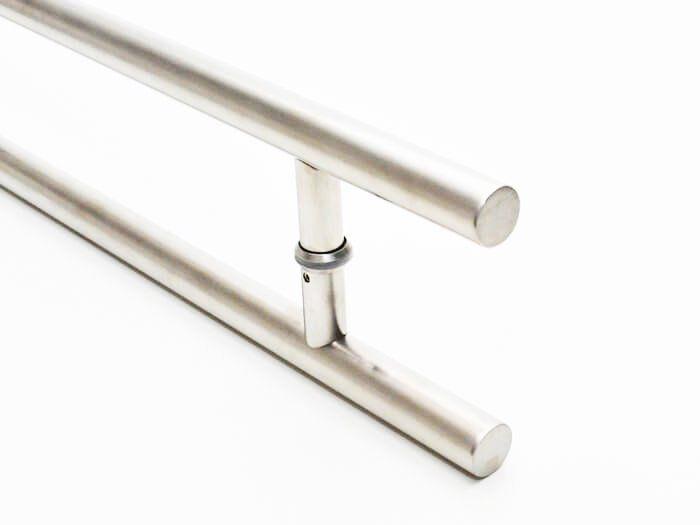 Puxador Portas Duplo Aço Inox Escovado Soft 2 m para portas: pivotantes/madeira/vidro temperado/porta alumínio e portões   - Loja do Puxador