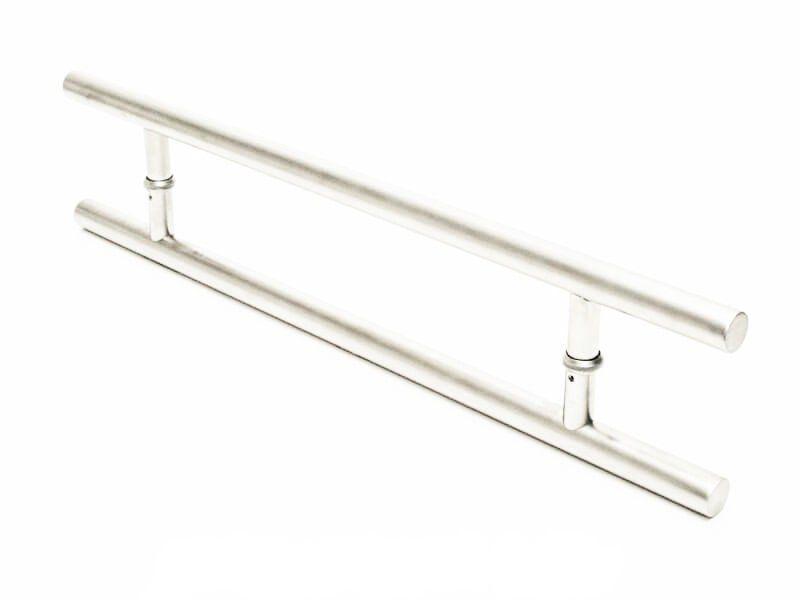 Puxador Portas Duplo Aço Inox Escovado Soft 70 cm para portas: pivotantes/madeira/vidro temperado/porta alumínio e portões  - Loja do Puxador