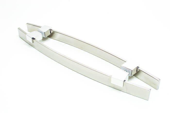 Puxador Portas Duplo Aço Inox Polido Alba 1,1 m para portas: pivotantes/madeira/vidro temperado/porta alumínio e portões   - Loja do Puxador