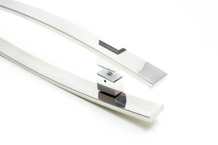 Puxador Portas Duplo Aço Inox Polido Alba 60 cm para portas: pivotantes/madeira/vidro temperado/porta alumínio e portões   - Loja do Puxador