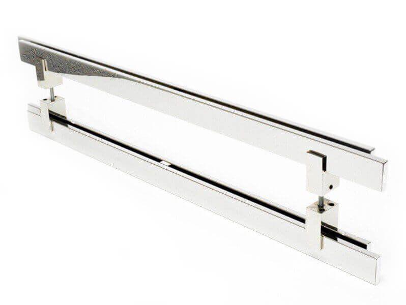 Puxador Portas Duplo Aço Inox Polido Aquarius 50 cm para portas: pivotantes/madeira/vidro temperado/porta alumínio e portões  - Loja do Puxador