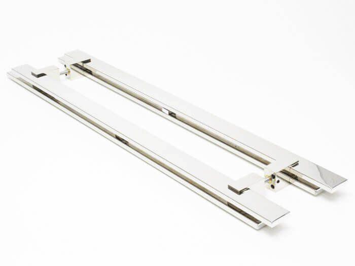 Puxador Portas Duplo Aço Inox Polido Aquarius 60 cm para portas: pivotantes/madeira/vidro temperado/porta alumínio e portões  - Loja do Puxador
