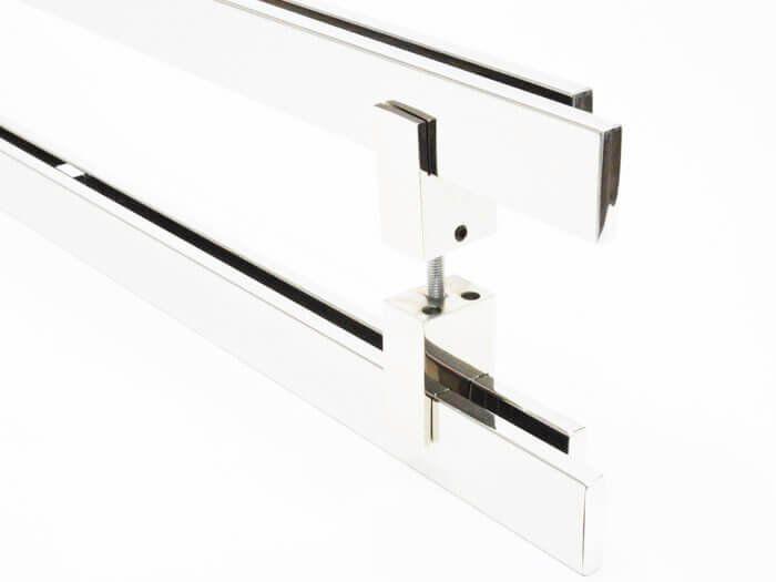 Puxador Portas Duplo Aço Inox Polido Aquarius 80 cm para portas: pivotantes/madeira/vidro temperado/porta alumínio e portões  - Loja do Puxador