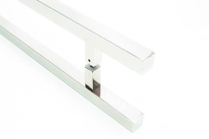 Puxador Portas Duplo Aço Inox Polido Aristocrata 1 m para portas: pivotantes/madeira/vidro temperado/porta alumínio e portões   - Loja do Puxador