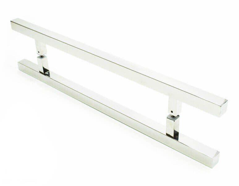 Puxador Portas Duplo Aço Inox Polido Aristocrata 40 cm para portas: pivotantes/madeira/vidro temperado/porta alumínio e portões   - Loja do Puxador