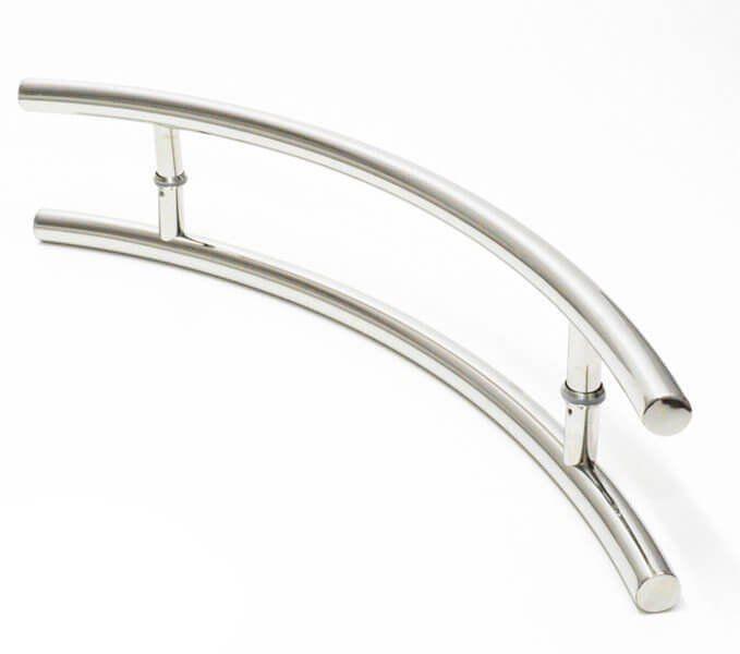 Puxador Portas Duplo Aço Inox Polido Belissima 1 m para portas: pivotantes/madeira/vidro temperado/porta alumínio e portões   - Loja do Puxador