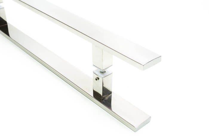 Puxador Portas Duplo Aço Inox Polido Clean 1,1 m para portas: pivotantes/madeira/vidro temperado/porta alumínio e portões  - Loja do Puxador