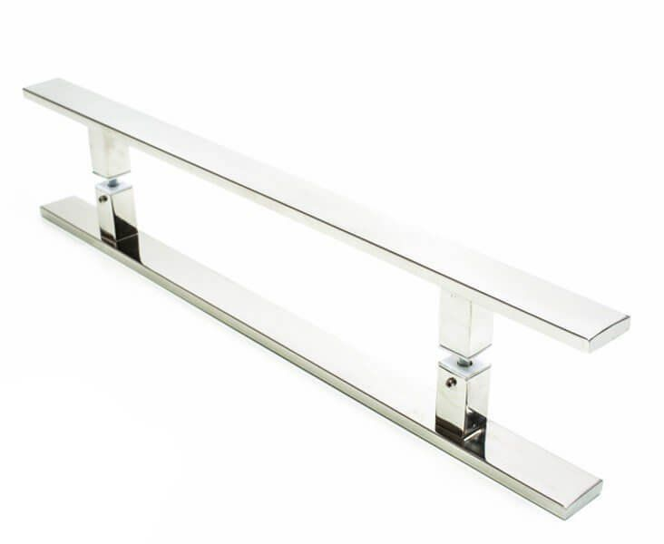 Puxador Portas Duplo Aço Inox Polido Clean 1,5 m para portas: pivotantes/madeira/vidro temperado/porta alumínio e portões  - Loja do Puxador