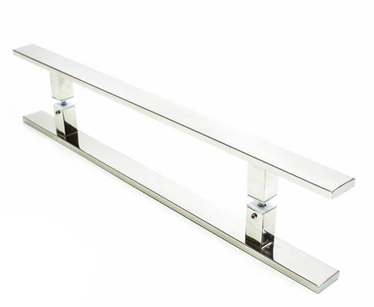 Puxador Portas Duplo Aço Inox Polido Clean 40 cm para portas: pivotantes/madeira/vidro temperado/porta alumínio e portões   - Loja do Puxador