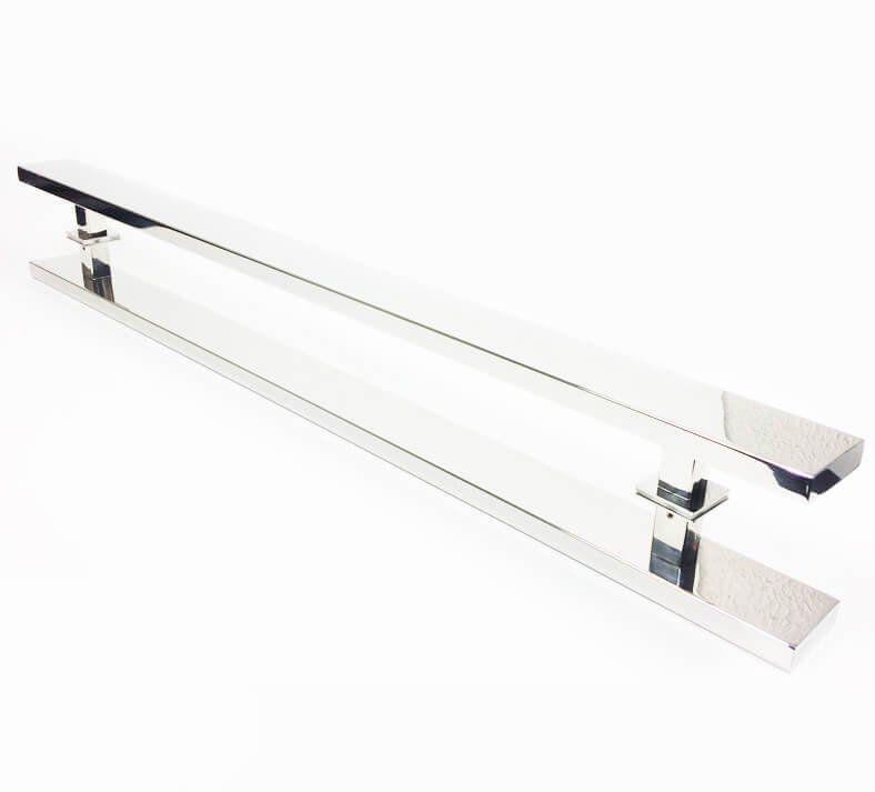 Puxador Portas Duplo Aço Inox Polido Grand Clean 1,2 m para portas: pivotantes/madeira/vidro temperado/porta alumínio e portões   - Loja do Puxador