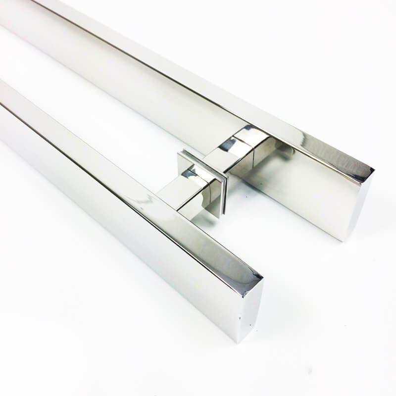 Puxador Portas Duplo Aço Inox Polido Grand Clean 90 cm para portas: pivotantes/madeira/vidro temperado/porta alumínio e portões   - Loja do Puxador