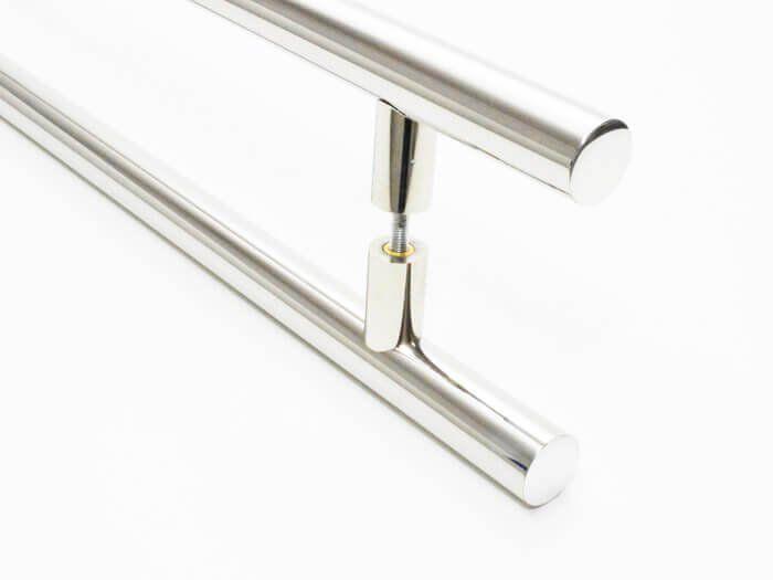 Puxador Portas Duplo Aço Inox Polido Grand Soft 2,5 m para portas: pivotantes/madeira/vidro temperado/porta alumínio e portões  - Loja do Puxador