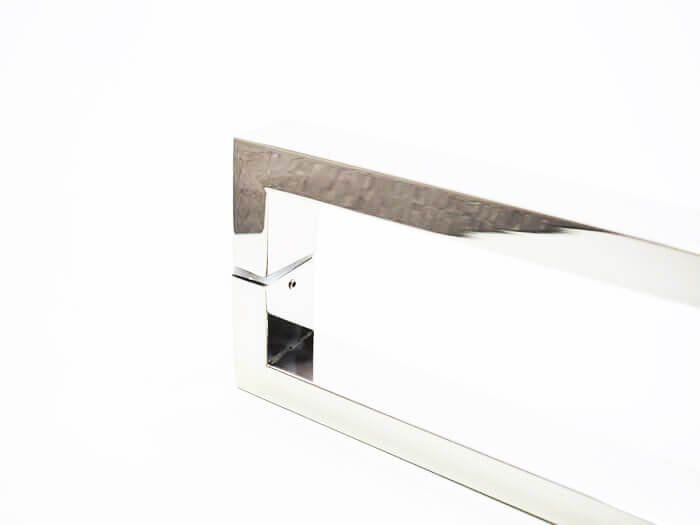 Puxador Portas Duplo Aço Inox Polido Greco 1,1 m para portas: pivotantes/madeira/vidro temperado/porta alumínio e portões   - Loja do Puxador