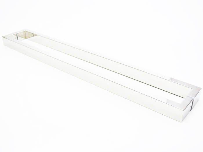 Puxador Portas Duplo Aço Inox Polido Greco 2,5 m para portas: pivotantes/madeira/vidro temperado/porta alumínio e portões   - Loja do Puxador