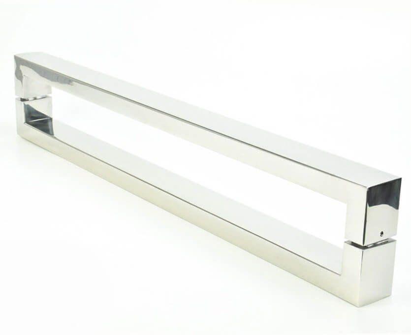 Puxador Portas Duplo Aço Inox Polido Hércules 4 m para portas: pivotantes/madeira/vidro temperado/porta alumínio e portões  - Loja do Puxador