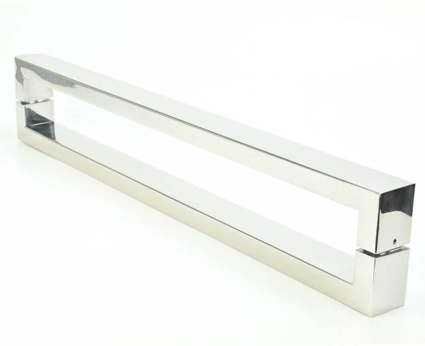 Puxador Portas Duplo Aço Inox Polido Hércules 80 cm para portas: pivotantes/madeira/vidro temperado/porta alumínio e portões   - Loja do Puxador