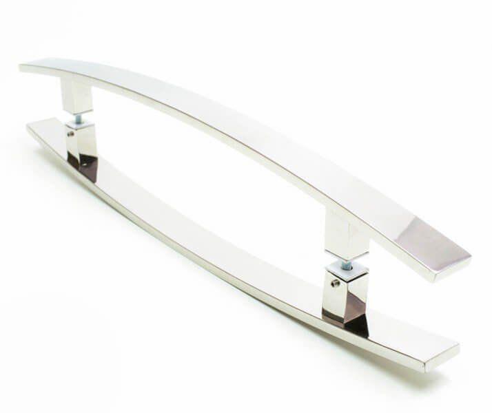 Puxador Portas Duplo Aço Inox Polido Lugui 30 cm para portas: pivotantes/madeira/vidro temperado/porta alumínio e portões   - Loja do Puxador