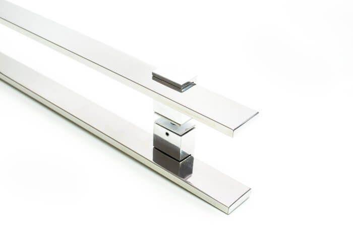 Puxador Portas Duplo Aço Inox Polido Luma 1,2 m para portas: pivotantes/madeira/vidro temperado/porta alumínio e portões   - Loja do Puxador