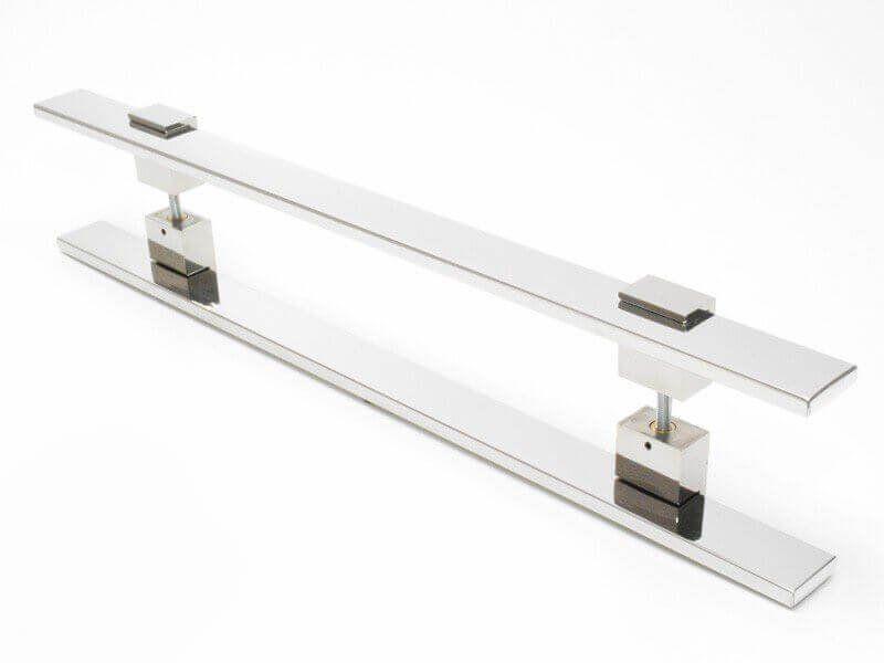 Puxador Portas Duplo Aço Inox Polido Luma 40 cm para portas: pivotantes/madeira/vidro temperado/porta alumínio e portões   - Loja do Puxador