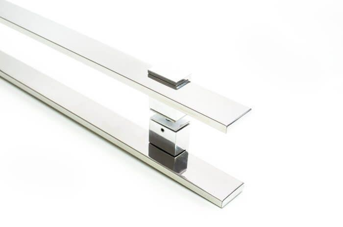 Puxador Portas Duplo Aço Inox Polido Luma 80 cm para portas: pivotantes/madeira/vidro temperado/porta alumínio e portões   - Loja do Puxador