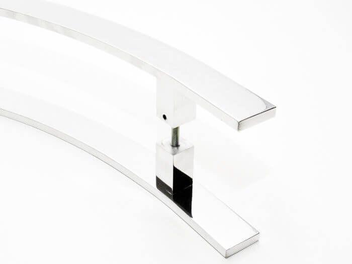 Puxador Portas Duplo Aço Inox Polido Novita 1,1 m para portas: pivotantes/madeira/vidro temperado/porta alumínio e portões.   - Loja do Puxador
