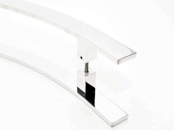 Puxador Portas Duplo Aço Inox Polido Novita 1 m para portas: pivotantes/madeira/vidro temperado/porta alumínio e portões.   - Loja do Puxador