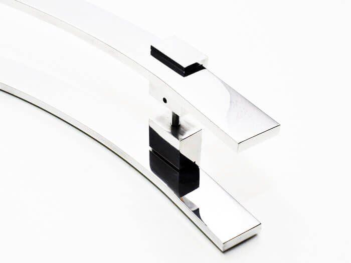 Puxador Portas Duplo Aço Inox Polido Paola 1,1 m para portas: pivotantes/madeira/vidro temperado/porta alumínio e portões.  - Loja do Puxador