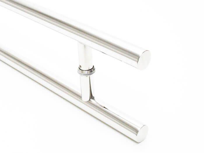Puxador Portas Duplo Aço Inox Polido Soft 1,5 m para portas: pivotantes/madeira/vidro temperado/porta alumínio e portões  - Loja do Puxador