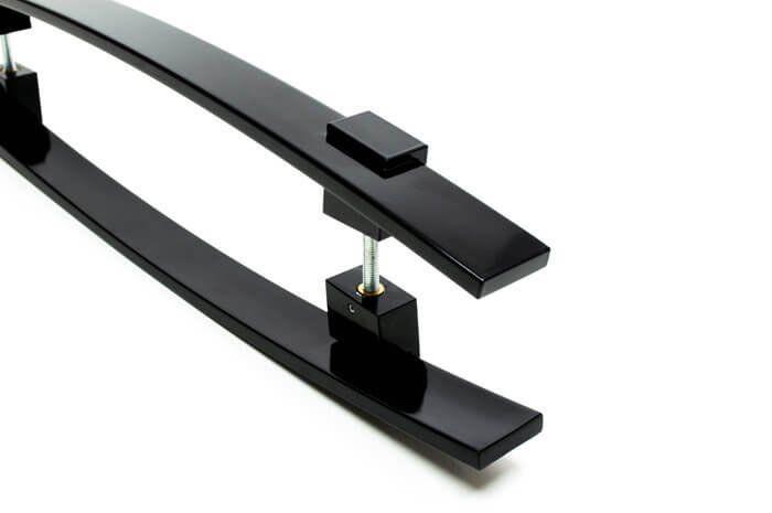 Puxador Portas Duplo Aço Inox Preto Alba 50 cm para portas: pivotantes/madeira/vidro temperado/porta alumínio e portões   - Loja do Puxador