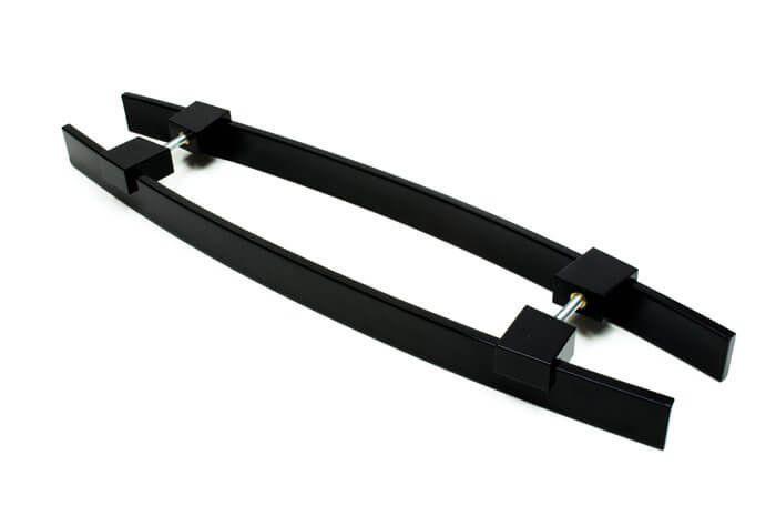 Puxador Portas Duplo Aço Inox Preto Alba 90 cm para portas: pivotantes/madeira/vidro temperado/porta alumínio e portões   - Loja do Puxador