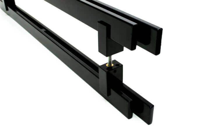 Puxador Portas Duplo Aço Inox Preto Aquarius 1 m para portas: pivotantes/madeira/vidro temperado/porta alumínio e portões  - Loja do Puxador