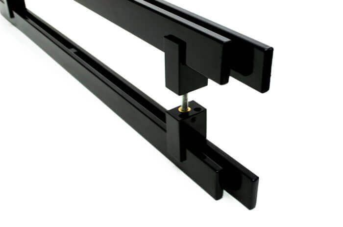 Puxador Portas Duplo Aço Inox Preto Aquarius 90 cm para portas: pivotantes/madeira/vidro temperado/porta alumínio e portões  - Loja do Puxador