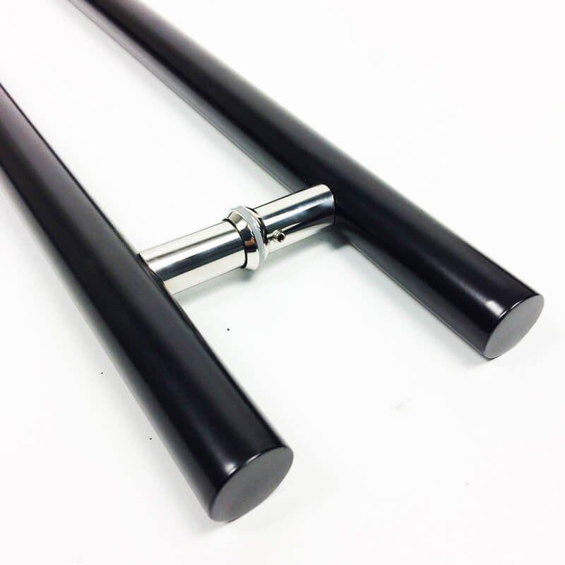Puxador Portas Duplo Aço Inox Preto Grand Soft 50 cm para portas: pivotantes/madeira/vidro temperado/porta alumínio e portões   - Loja do Puxador