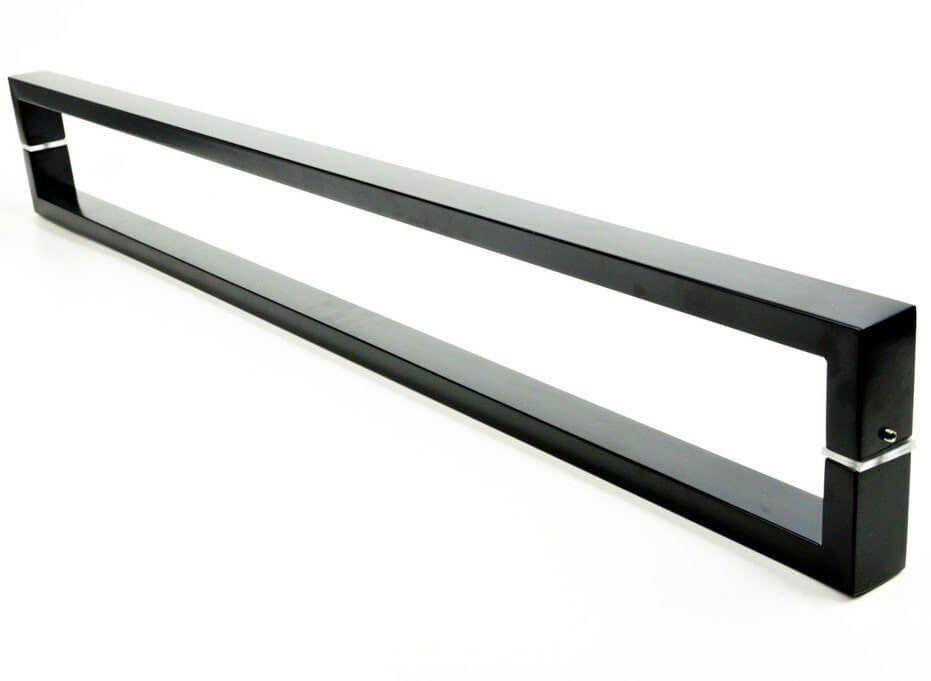Puxador Portas Duplo Aço Inox Preto Greco 2,5 m para portas: pivotantes/madeira/vidro temperado/porta alumínio e portões   - Loja do Puxador