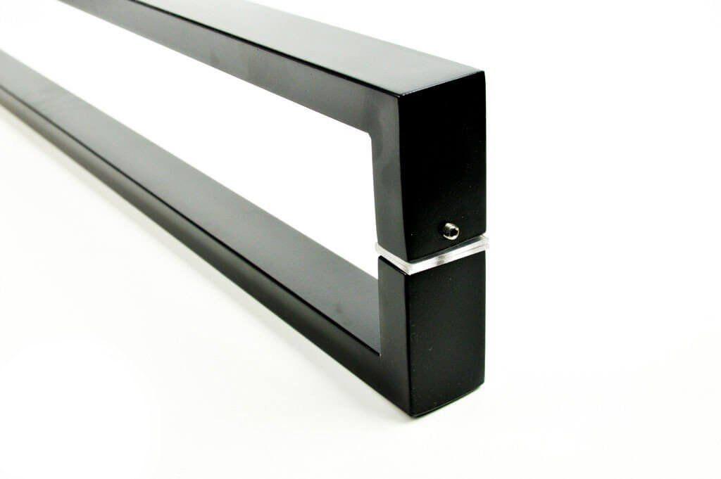Puxador Portas Duplo Aço Inox Preto Greco 2 m para portas: pivotantes/madeira/vidro temperado/porta alumínio e portões   - Loja do Puxador