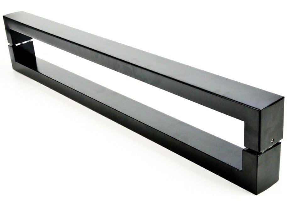 Puxador Portas Duplo Aço Inox Preto Hércules 1,1 m para portas: pivotantes/madeira/vidro temperado/porta alumínio e portões   - Loja do Puxador