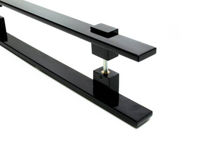 Puxador Portas Duplo Aço Inox Preto Luma 1,8 m para portas: pivotantes/madeira/vidro temperado/porta alumínio e portões   - Loja do Puxador