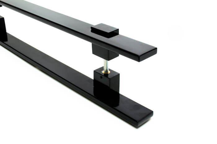 Puxador Portas Duplo Aço Inox Preto Luma 2 m para portas: pivotantes/madeira/vidro temperado/porta alumínio e portões   - Loja do Puxador