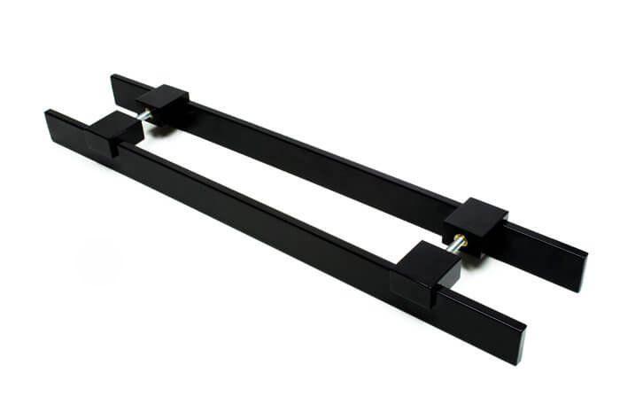 Puxador Portas Duplo Aço Inox Preto Luma 30 cm para portas: pivotantes/madeira/vidro temperado/porta alumínio e portões   - Loja do Puxador