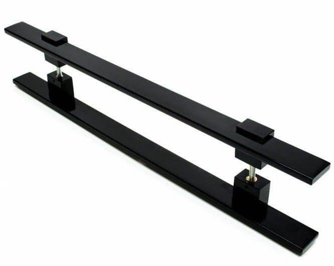 Puxador Portas Duplo Aço Inox Preto Luma 40 cm para portas: pivotantes/madeira/vidro temperado/porta alumínio e portões   - Loja do Puxador