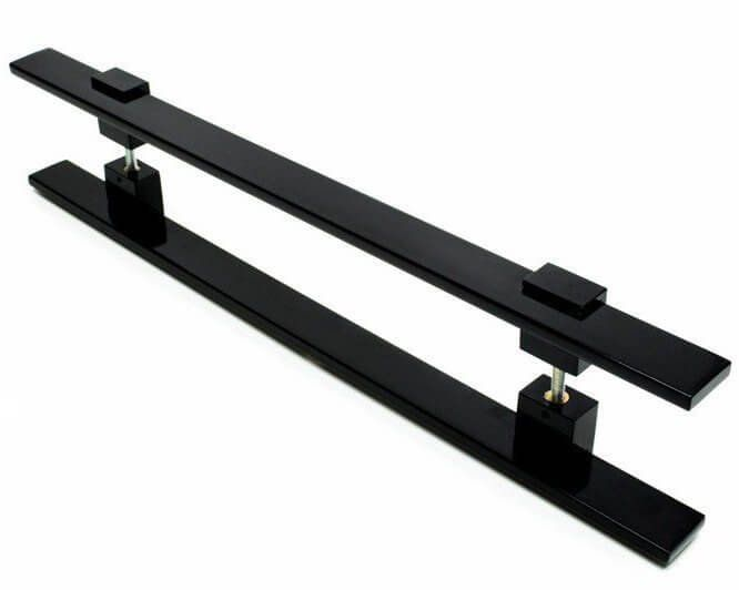 Puxador Portas Duplo Aço Inox Preto Luma 70 cm para portas: pivotantes/madeira/vidro temperado/porta alumínio e portões   - Loja do Puxador