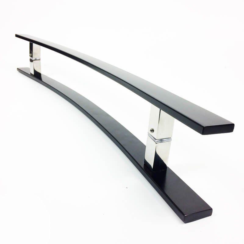 Puxador Portas Duplo Aço Inox Preto Novita 1,2 m para portas: pivotantes/madeira/vidro temperado/porta alumínio e portões.   - Loja do Puxador