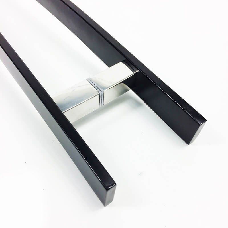 Puxador Portas Duplo Aço Inox Preto Novita 90 cm para portas: pivotantes/madeira/vidro temperado/porta alumínio e portões.   - Loja do Puxador