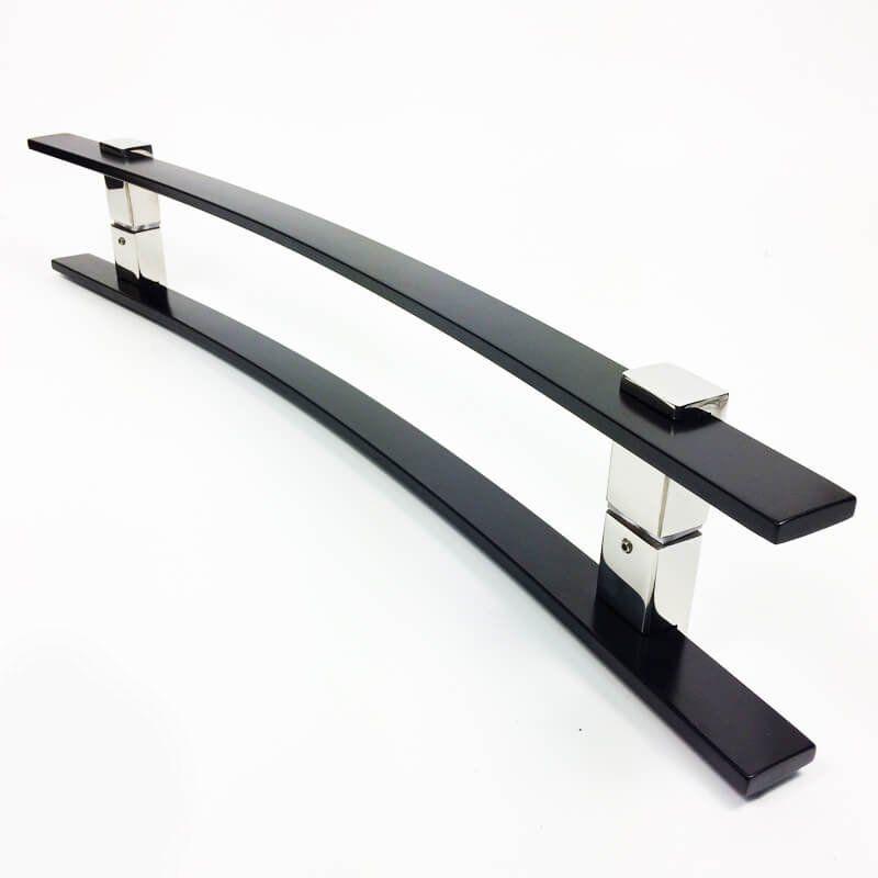 Puxador Portas Duplo Aço Inox Preto Paola 1,2 m para portas: pivotantes/madeira/vidro temperado/porta alumínio e portões.  - Loja do Puxador