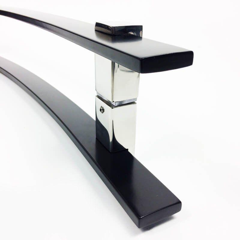 Puxador Portas Duplo Aço Inox Preto Paola 1 m para portas: pivotantes/madeira/vidro temperado/porta alumínio e portões.  - Loja do Puxador