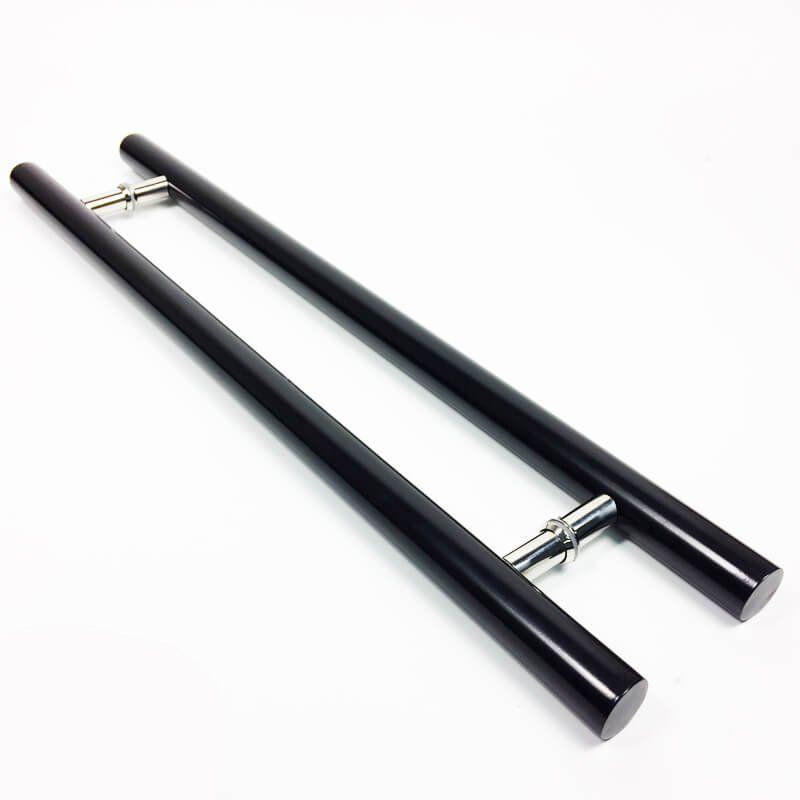 Puxador Portas Duplo Aço Inox Preto Pleno 1,8 m para portas: pivotantes/madeira/vidro temperado/porta alumínio e portões  - Loja do Puxador